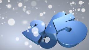 Numero blu 2015 in 3D su fondo grigio con i fiocchi di neve Illustrazione di Stock