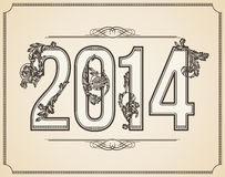 Numero calligrafico 2014 Immagine Stock