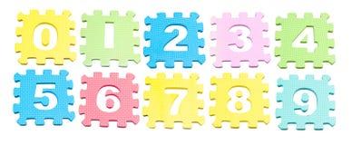 Numero che impara i blocchi isolati sopra bianco Fotografie Stock