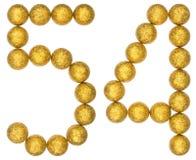 Numero 54, cinquantaquattro, dalle palle decorative, isolate su bianco Fotografie Stock Libere da Diritti