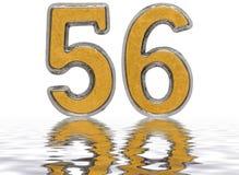 Numero 56, cinquantasei, riflesso sulla superficie dell'acqua, isolata Fotografia Stock Libera da Diritti