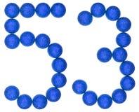 Numero 53, cinquantatre, dalle palle decorative, isolate su briciolo Immagine Stock