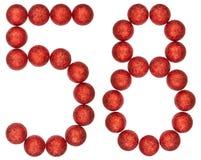 Numero 58, cinquantotto, dalle palle decorative, isolate su briciolo Immagini Stock