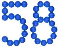 Numero 58, cinquantotto, dalle palle decorative, isolate su briciolo Fotografia Stock