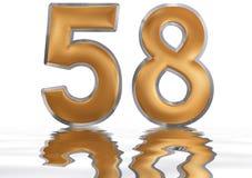 Numero 58, cinquantotto, riflesso sulla superficie dell'acqua, isolato Fotografie Stock Libere da Diritti