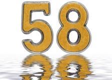 Numero 58, cinquantotto, riflesso sulla superficie dell'acqua, isolato Fotografia Stock Libera da Diritti