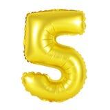 Numero 5 cinque dai palloni dorati Fotografia Stock