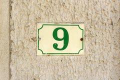 Numero civico 9 Fotografia Stock