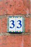 Numero civico 33 Fotografia Stock