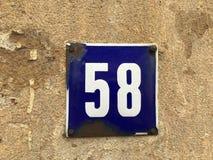 Numero civico 58 Immagine Stock