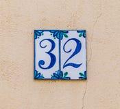 Numero civico 32 Immagine Stock Libera da Diritti