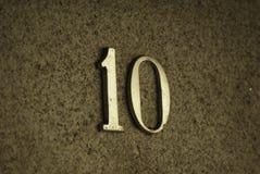 Numero civico 10 in oro Fotografia Stock Libera da Diritti
