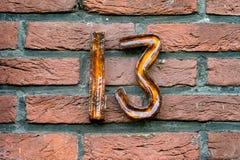 Numero civico tredici 13 Immagini Stock
