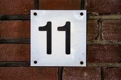 Numero civico undici 11 Fotografie Stock Libere da Diritti