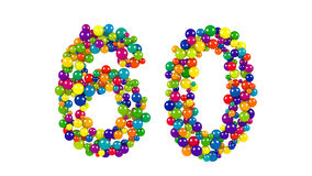 Numero 60 come palle sopra fondo bianco Fotografia Stock Libera da Diritti