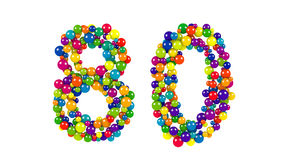 Numero 80 come piccole palle sopra bianco Fotografia Stock