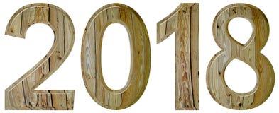 Numero 2018 con un modello astratto di una superficie di legno, isola Fotografie Stock