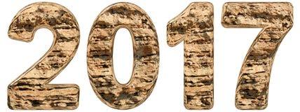 Numero 2017 con una superficie astratta da un calcare naturale, Fotografia Stock Libera da Diritti