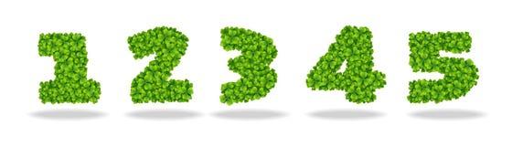 Numero dalle foglie del trifoglio Numero 1-5 Fotografie Stock