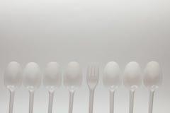 Numero dei cucchiai e della forchetta eliminabili Immagine Stock Libera da Diritti