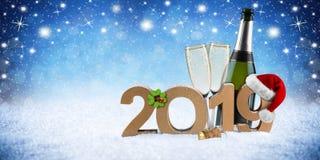 Numero del buon anno 2019 con il campione del quadrifoglio del cappello di Santa fotografia stock libera da diritti