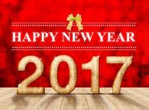 Numero del buon anno 2017 nella stanza di prospettiva con lo sparklin rosso Fotografie Stock