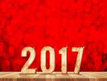 Numero del buon anno 2017 nella stanza di prospettiva con lo sparklin rosso Fotografia Stock