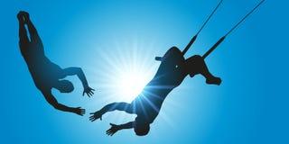 Numero del trapezio in duo, in una manifestazione del circo illustrazione vettoriale