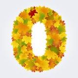 Numero 0 delle foglie di autunno Fotografia Stock