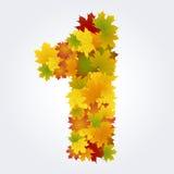 Numero 1 delle foglie di autunno Fotografia Stock