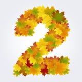 Numero 2 delle foglie di autunno Fotografia Stock
