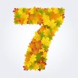 Numero 7 delle foglie di autunno Immagini Stock