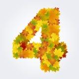 Numero 4 delle foglie di autunno Immagine Stock Libera da Diritti