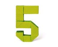 Numero di carta cinque di origami Fotografie Stock Libere da Diritti