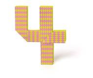 Numero di carta quattro di origami Fotografia Stock Libera da Diritti