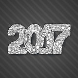 Numero 2017 di celebrazione del buon anno Illustrazione di natale di vettore nello zentangle Immagine Stock
