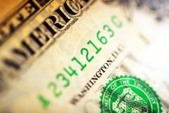 Numero di serie del dollaro Fotografie Stock Libere da Diritti