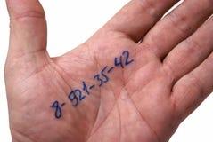 Numero di telefono sulla palma Immagine Stock Libera da Diritti