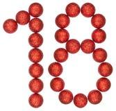 Numero 18, diciotto, dalle palle decorative, isolate sulla b bianca Fotografia Stock Libera da Diritti