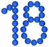 Numero 18, diciotto, dalle palle decorative, isolate sulla b bianca Immagini Stock Libere da Diritti