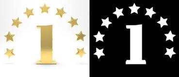 Numero dorato uno su fondo bianco con l'ombra del calo e l'alfa canale, decorati con un cerchio delle stelle illustrazione 3D royalty illustrazione gratis