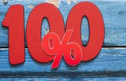 Numero 100 e segno di percentuali Fotografia Stock Libera da Diritti