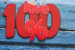 Numero 100 e segno di percentuali Fotografie Stock Libere da Diritti