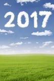 Numero a forma di 2017 della nuvola nel prato Fotografie Stock Libere da Diritti