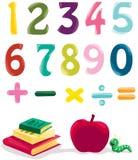 Numero, libri e mela illustrazione di stock