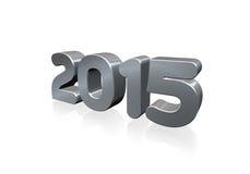 Numero metallico 2015 in 3D su fondo bianco Immagini Stock Libere da Diritti
