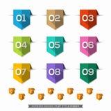 Numero nelle icone piane dell'ombra lunga dell'etichetta del segnalibro messe Immagini Stock