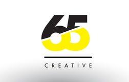 65 numero nero e giallo Logo Design Immagine Stock