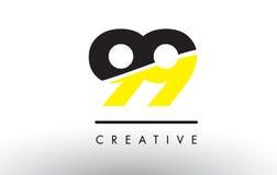 99 numero nero e giallo Logo Design Immagini Stock