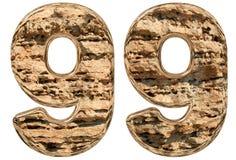 Numero 99, novanta nove, su bianco, calcare naturale, 3 Fotografie Stock